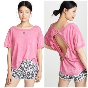 Free People Viola Pink Open Back High Neck Tee NWT